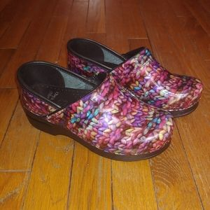 Dansko 37 Multicolor Patent Leather Clogs